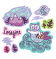 stickers with fantastic animals and phrases vector image vector image