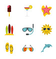 summer beach icons set flat style vector image vector image