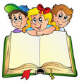 three children with opened book vector image vector image