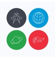 Ufo planet and fire flame icons vector image