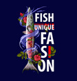 unique fashion print for clothers with fish vector image vector image