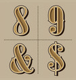 western alphabet letters vintage numbers design vector image vector image
