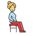 woman sitting on the chair concept line vector image