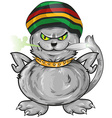fun jamaican angry cat vector image