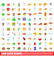 100 cafe icons set cartoon style vector image vector image