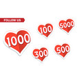 5000 followers in social networks red stickers vector image