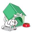 A cute pet outside the pethouse vector image
