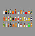 alcohol bottles line icons set drinks object for vector image