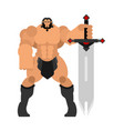 barbarian with sword strong warrior with weapons vector image vector image