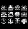 baseball game sport icons and equipment vector image vector image