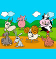 cartoon farm animals funny characters group vector image vector image
