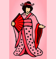 cartoon japanese woman vector image