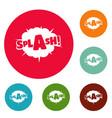 comic boom splash icons circle set vector image vector image