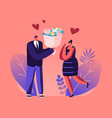 couple having dating man give present to vector image vector image