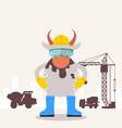 cow builder engineer funny cartoon character vector image