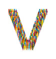 crowd of people in form of capital letter v flat vector image vector image
