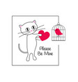 cute cat and bird valentine vector image vector image