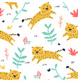 cute leopard seamless pattern print design vector image vector image
