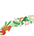 diagonal strip of sliced and whole vegetables vector image