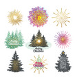 different christmas trees with vector image
