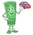 Dollar Bill Character Offering a Car vector image vector image