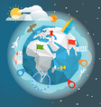 earth with different pins and buildings vector image