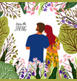 enjoy the spring young couple flowers trees in vector image vector image