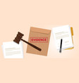 evidence stamped in brown envelope concept of vector image vector image
