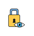 eye padlock security internet flat line style vector image