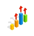 Growth chart icon isometric 3d style vector image vector image