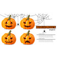 halloween party pumpkin faces card vector image