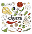 hand drawn set with different types of cheeses vector image vector image
