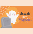 happy halloween cute ghost bat tombstone and vector image vector image