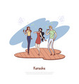 happy people with microphones friends group vector image vector image