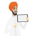 hindu businessman holding tablet computer vector image vector image