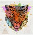 hipster animal cheetah on artistic polygon vector image vector image