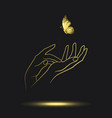 icon golden female hands with golden butterfly vector image