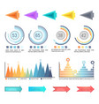 infographics and arrowheads pointing charts set vector image vector image