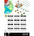 isometric electricity 2019 year calendar template vector image vector image