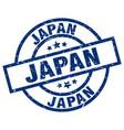 japan blue round grunge stamp vector image