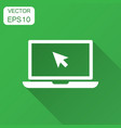 laptop notebook with mouse cursor icon in flat vector image vector image