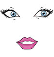 object on white background eyes and lips of a vector image