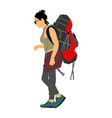passenger woman with backpack luggage walking vector image vector image
