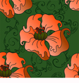 pattern with poppies on a green background vector image vector image