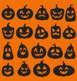 pumpkin silhouettes halloween pumpkins emoticon vector image