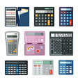 realistic calculators set educational math with vector image vector image