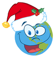 Santa Hat On A Earth Cartoon Character vector image