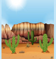 scene with canyon and cactus in desert vector image vector image