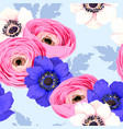 seamless pattern with anemones and ranunculus vector image vector image