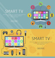 smart tv flat design concept and banners modern vector image vector image